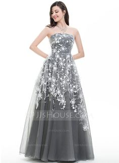 [US$ 197.99] Ball-Gown Strapless Floor-Length Tulle Prom Dress With Sequins (018105691)
