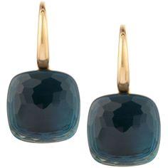Pomellato Nudo 18k London Blue Topaz Earrings (55,280 SVC) ❤ liked on Polyvore featuring jewelry, earrings, orecchini, london blue topaz jewelry, hook earrings, pomellato, 18 karat gold jewelry and pomellato jewelry