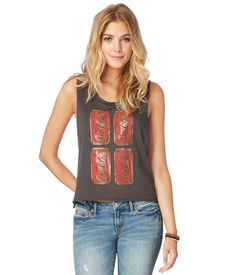 Coca-Cola Cropped Graphic Tank from Aeropostale