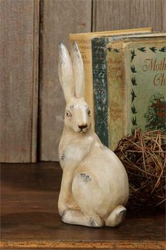 "Primitive Chocolate Bunny Rabbit Mold Resin Figurine ~ 8/"""