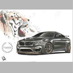 BMW M4 marker painting / autopiirustus