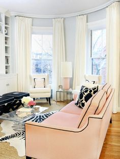 Pink living room. Very tailored and feminine.