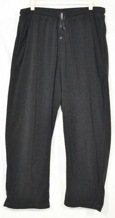 JOCKEY SLEEPWEAR Men's Black Fleece Pants XL Drawstring Elastic Waist Button Fly #Jockey #LoungePants