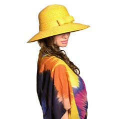 Santa Monica Hat & Miami Kaftan. Available to order online for immediate delivery from our trade website www.piarossini.com #trade #wholesale #SS14 #PiaRossini #Resortwear #Resort #Beachwear #CoverUps #fashion #style #trend #yellow #bright #Sun #Hat