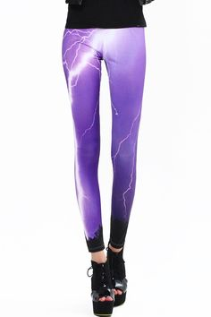Lightning Print Leggings. Description Leggings, featuring brief styling with lightning print design, a stretchy waist and all in a soft-touch stretch finish. Fabric 97%Polyester,3%Spandex Washing 40 degree machine wash, do not bleach , do not tumble dry, do not dry clean. #Romwe