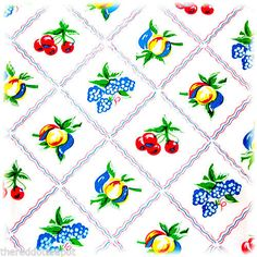 Moda-Tablecloth-Bright-Fruits-Blue-Border-Out-Of-Print-MIP-1950s-Vintage-Style