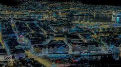 Night cityscape by Rune Hansen on Bergen, Runes, City Photo, Cool Photos, Night, Mountains