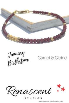 This gemstone bracelet features deep red garnets with accenting citrine beads. This gorgeous, vibrant bracelet has an elegant, minimalist style and would make the perfect gift for yourself or loved one. Click the picture to see more...