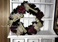 Miniature Halloween Wreath with Blood-Red by PlaywMagicMiniatures