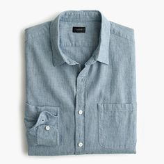 Back when yarn was only spun by hand, subtle variations in the width gave clothes a naturally textured feel. We've recreated that rustic, homespun quality for this shirt, and made it in a color that'll carry you through the rest of the season and beyond. <ul><li>Classic fit.</li><li>Cotton.</li><li>Point collar.</li><li>Chest pocket.</li><li>Machine wash.</li><li>Import.</li></ul>