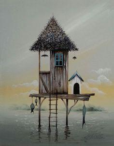 Gary Walton acrylic 'Fishing Retreat I' Illustrations, Illustration Art, Watercolor Landscape, Watercolour, House Drawing, Environment Concept Art, Fantasy Landscape, Whimsical Art, Beach Art