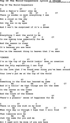 Love Song Lyrics for: Top Of The World-Carpenters with chords for Ukulele, Guitar Banjo etc.