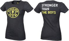 golds gym stronger with  | Golds Gym Ladies Stronger Than The Boys Tee - dark heather