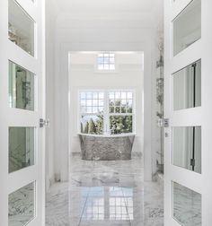 The big reveal, starring our Candide tub, in a bath by Bathroom Renos, Master Bathroom, Bathrooms, Big Windows, Windows And Doors, Shower Backsplash, Backsplash Ideas, Tile Ideas, Steel Bath
