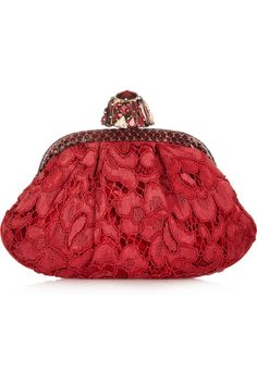 Dolce & Gabbana | Miss Dea small ayers-trimmed lace and velvet clutch