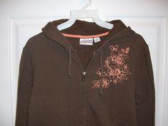 Aeropostale Jr Misses sz Medium Brown Distressed Look Zip Front Hoodie Jacket #Aropostale #Hoodie