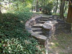 Devon Devine dry stone retaining wall and stairs in Exton, PA лестница из камня