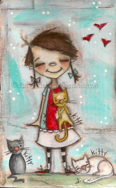 Cereal Box Art -Kitty, Kitty, Kitty - Original Artwork on cardboard with Single Mat