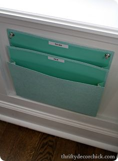 Wall file holder right by my desk #organization