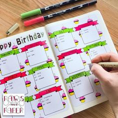 Birthday planner printable for your planner or journal. Use it as a birthday calendar, monthly planner, anniversary and birthday reminder.