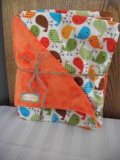 Baby Boy Minky Blanket  Orange, Green & Blue - $35.00