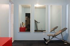 mirrors for workout room from Ikea, $50 each