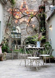 Green and White Patio