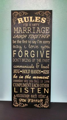 Rules For A Happy Marriage Sign - Wedding Gift, Anniversary, Bride & Groom, Bridal Shower