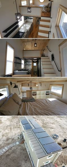 Ready to live off-grid? The Tiny Solar Home was built by Utah-based Alpine Tiny Homes and features a Humless power system with 6.5kW of battery storage and eight 250W solar panels.