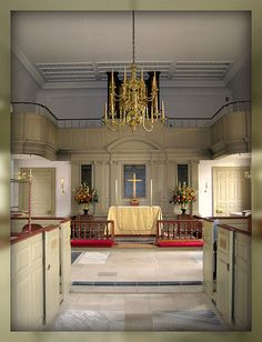Interior of Historic Bruton Parish Church, Colonial Williamsburg, Williamsburg, Virginia - this church has been in continuous operation for over 300 years.