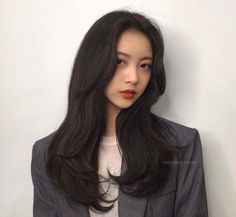 Long Thin Hair, Long Layered Hair, Long Hair Cuts, Short Hair, Korean Haircut Long, Korean Long Hair, Hair Color Ideas For Brunettes Balayage, Hair Color Balayage, Medium Hair Cuts