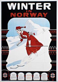 Winter in Norway Ski Skiing Europe European Scandinavia Travel Art Poster Print Vintage Ski Posters, Retro Poster, Poster Ads, In China, Ski Europe, Tourism Poster, Norway Travel, Norway Vacation, Photo Vintage