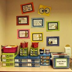 I like the way she set up her writing center, I might have to do something similar with starting Lucy Calkins this year!