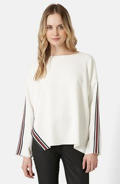Perfect for a lazy day... Topshop Contrast Stripe Sweater available at #Nordstrom