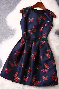 Butterfly jacquard sleeveless dress