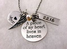 Memorial Necklace – A Piece of My Heart Lives In Heaven II – Baby Infant Loss Jewelry – Bereavement Jewelry – Mom Memorial Dad Memorial - Memory Tattoo Diamond Initial Necklace, Letter Necklace, Circle Necklace, Engraved Necklace, Valentine Gift For Wife, Birthday Gifts For Her, Valentines, Memorial Jewelry, Memorial Gifts