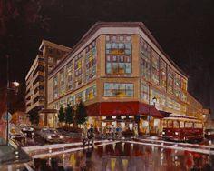 Asheville CITYSCAPE ORIGINAL PAINTING * Rainy City Night Street Painting * Battery Park Ave Asheville North Carolina * Modern Expressionist by GrayArtus on Etsy