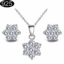 2017 Vánoční vločka Vánoční Design žena svatební doplňky postříbřené šperky náhrdelník s přívěskem náušnice kouzlo 51116 (Čína (pevninská část))
