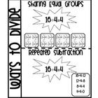 This Interactive Math Journal Insert for Division is intended to review 2 ways to divide.     To implement:  *Have students cut around bold line and o...