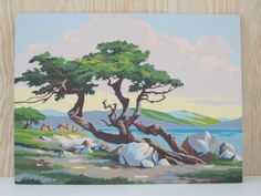Vintage Paint by Number Landscape By the Sea by vintagebeachkids, $22.00