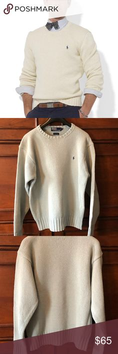 """Polo by Ralph Lauren Classic Crew Sweater A timeless classic from Polo by Ralph Lauren. Cotton crewneck sweater. Perfect condition. Dusty blue grey. A staple for any classic wardrobe.  19 1/2"""" width shoulder to shoulder 24"""" sleeve 26"""" length Polo by Ralph Lauren Sweaters Crewneck"""