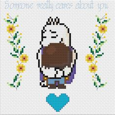 "Undertale Toriel and Frisk Custom Motivational Cross Stitch: ""Someone really cares about you."""