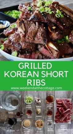 Rib Recipes, Grilling Recipes, Mexican Food Recipes, Dinner Recipes, Cooking Recipes, Bbq Meals, Easy Bbq Recipes, Korean Bbq Recipe, Korean Bbq Sauce