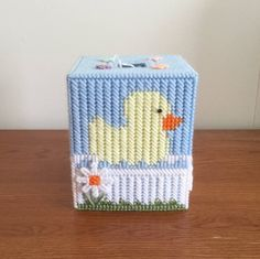 Duckling Tissue Box Cover, hand sewn, Ready To ship Plastic Canvas Ornaments, Plastic Canvas Tissue Boxes, Plastic Canvas Christmas, Plastic Canvas Crafts, Plastic Canvas Patterns, Plastic Craft, Kleenex Box, Baby Ducks, Tissue Box Covers