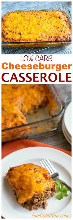 Need a simple ground beef casserole to feed your family or friends? They will love this easy low carb bacon cheeseburger casserole. #lowcarbrecipe #lowcarbcasserole | LowCarbYum.com