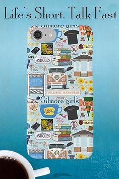 """Gilmore Girls phone case. So many favorites from Gilmore Girls! How many do you recognize? Luke's Diner, The Dragonfly, Stars Hollow Gazebo, Hep Alien's van… Where did all the anvils go? In omnia paratus! Drink a """"Rory"""" and check out the other Gilmore Gear"""