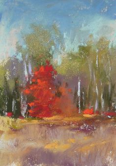 Small Original Art Fall Trees Landscape by KarenMargulisFineArt