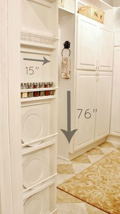 :: Havens South Designs :: loves using the blank sides of cabinets for useful things like spice or platter storage. Here is a how-to.