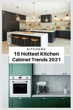 Best Kitchen Cabinets, Kitchen Cabinet Styles, Kitchen Tops, Coloured Kitchen Cabinets, Kitchen Color Trends, Hgtv Kitchens, Ceiling Storage, Decoration, Design Trends