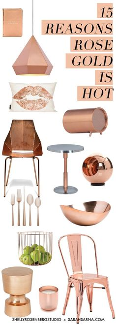 Whether it is jewelry, clothing, or décor. Rose Gold is going to be VERY popular. 15 Reasons Rose Gold is Hot for the Home. Just shy of copper, this pink–like hue has a sophistication and softness that flatters every design scheme. Gold Bedroom, Bedroom Decor, Bedroom Ideas, Rose Gold And Grey Bedroom, Deco Rose, Rose Gold Decor, Home Decor Accessories, Decorative Accessories, My Room